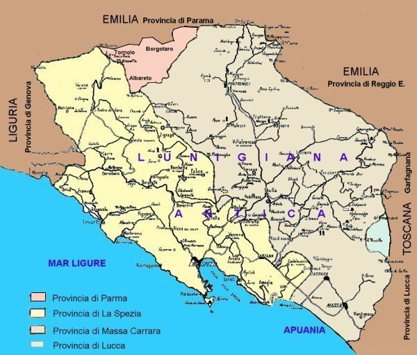 lunigiana storica: la cartina