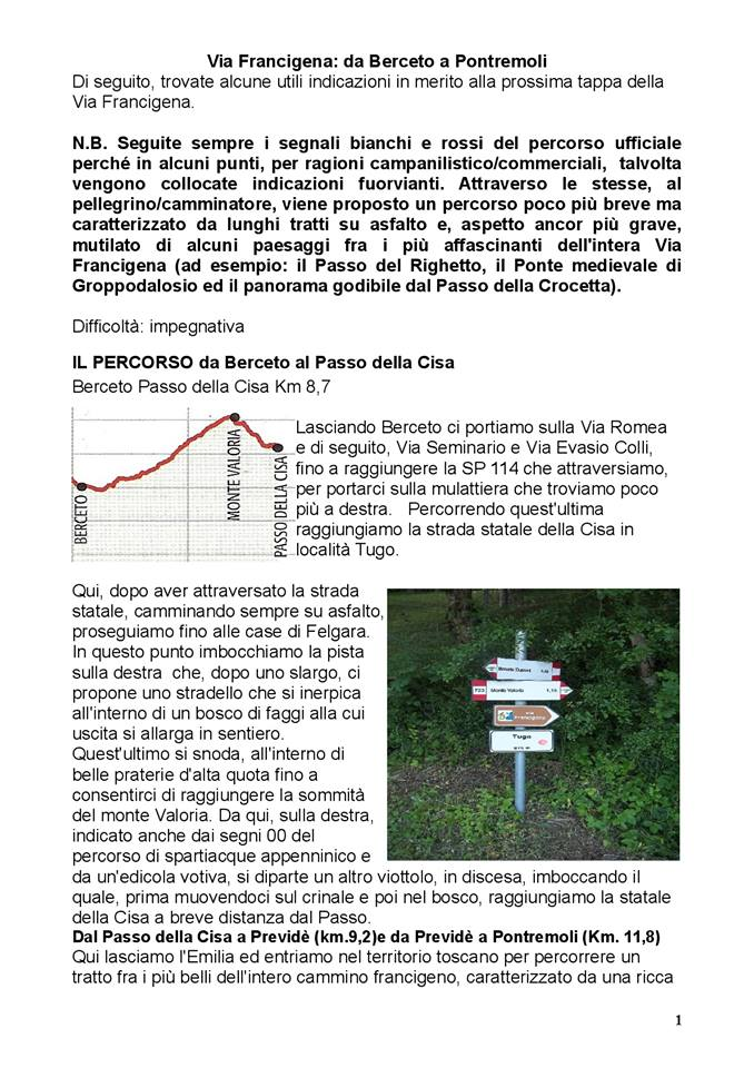 Via Francigena: dal Passo della Cisa a Pontremoli